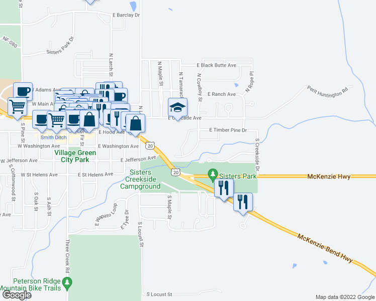 map of restaurants, bars, coffee shops, grocery stores, and more near 355 Timber Creek Drive in Sisters