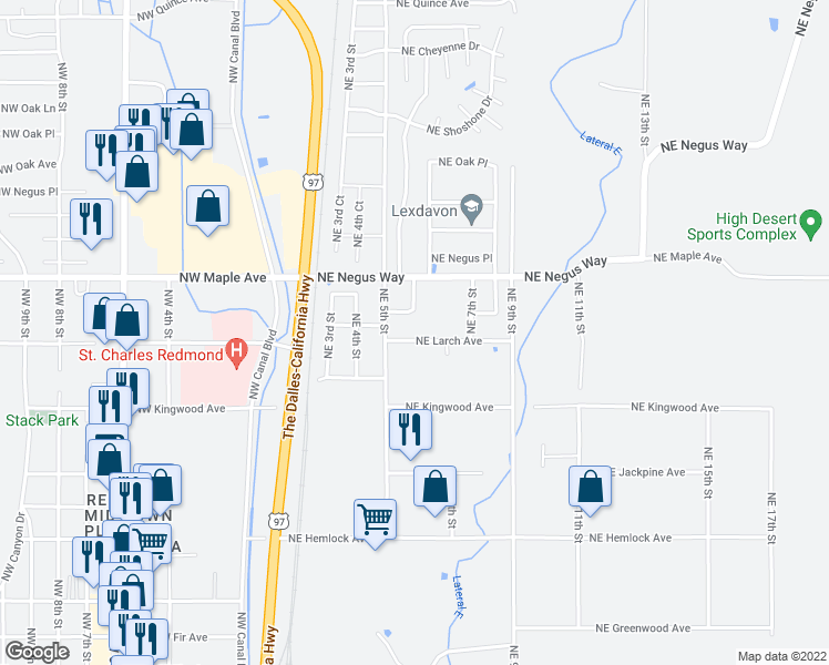 map of restaurants, bars, coffee shops, grocery stores, and more near 565 Northeast Larch Avenue in Redmond