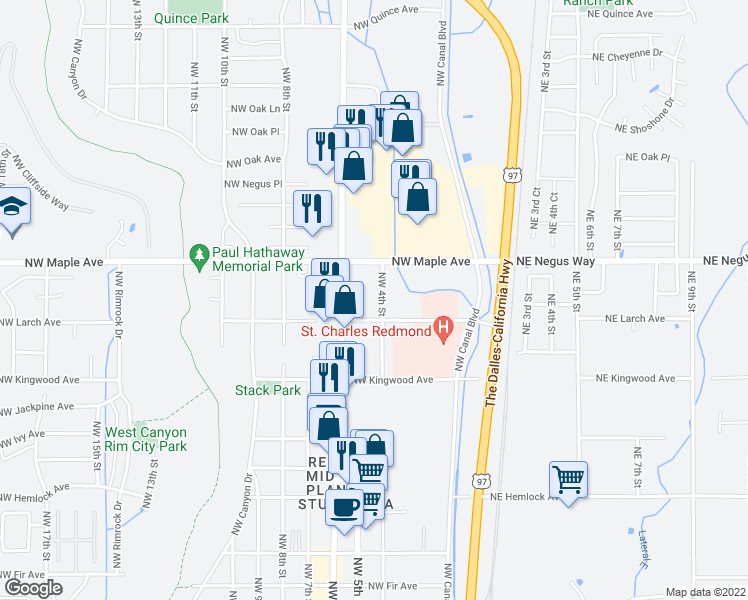 map of restaurants, bars, coffee shops, grocery stores, and more near 1437 Northwest 4th Street in Redmond