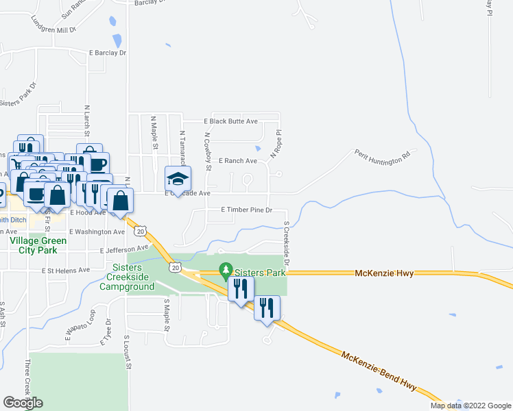 map of restaurants, bars, coffee shops, grocery stores, and more near 972 East Timber Pine Drive in Sisters