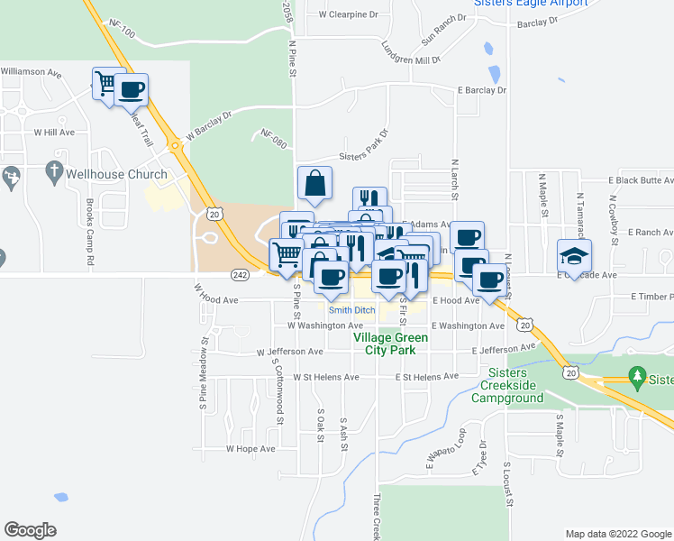 map of restaurants, bars, coffee shops, grocery stores, and more near 250 West Cascade Avenue in Sisters