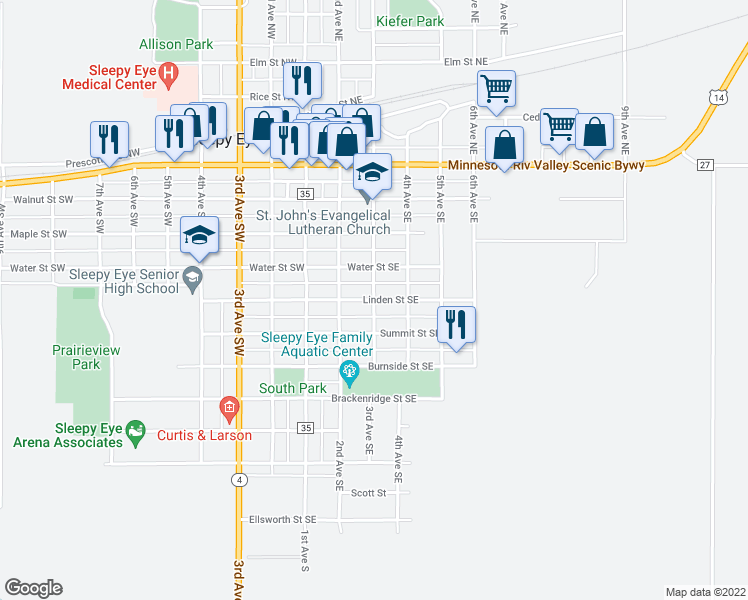 map of restaurants, bars, coffee shops, grocery stores, and more near Linden Street Southeast in Sleepy Eye