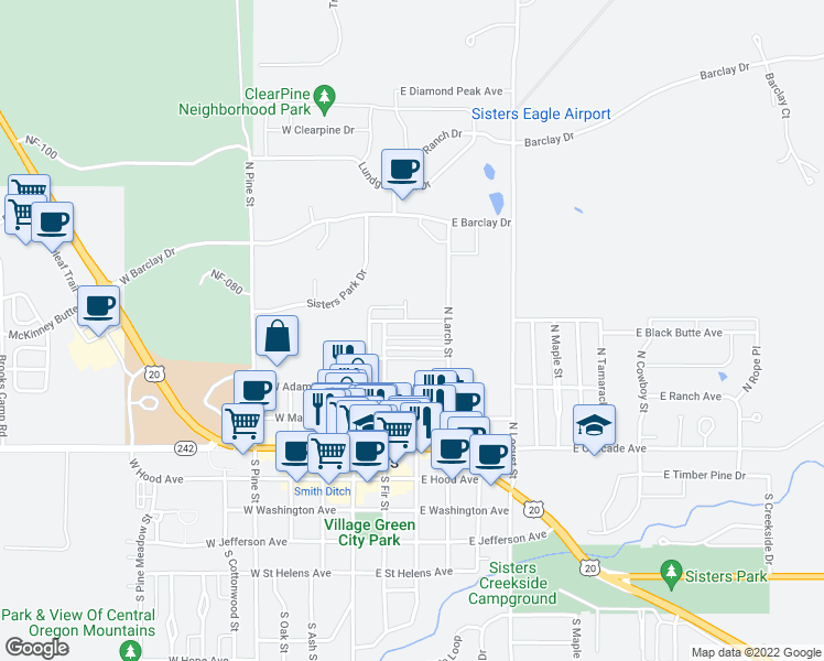 map of restaurants, bars, coffee shops, grocery stores, and more near 287 East Black Butte Avenue in Sisters