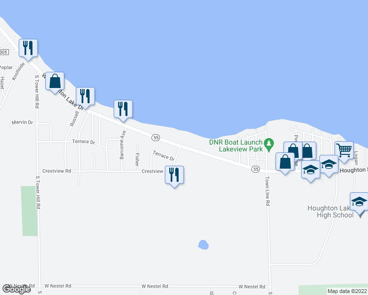 map of restaurants, bars, coffee shops, grocery stores, and more near 101-907 Crestview in Houghton Lake