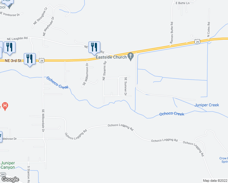 map of restaurants, bars, coffee shops, grocery stores, and more near 444 Sid Court in Prineville