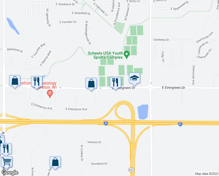 map of restaurants, bars, coffee shops, grocery stores, and more near 3401 East Evergreen Drive in Appleton