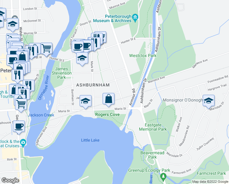 map of restaurants, bars, coffee shops, grocery stores, and more near 142 James Street in Peterborough