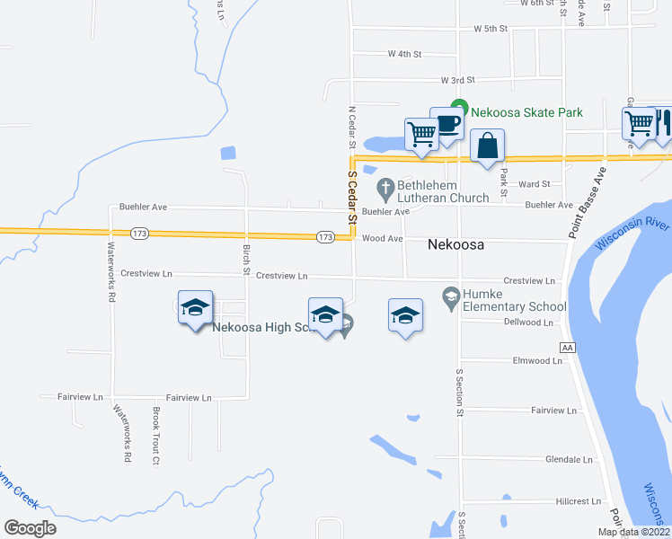 map of restaurants, bars, coffee shops, grocery stores, and more near 308 Crestview Lane in Nekoosa