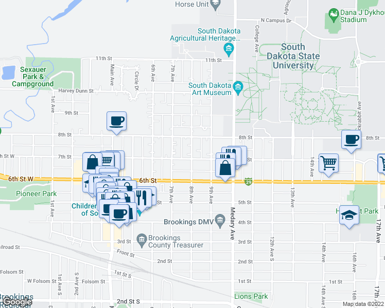 map of restaurants, bars, coffee shops, grocery stores, and more near 701-799 8th Avenue in Brookings