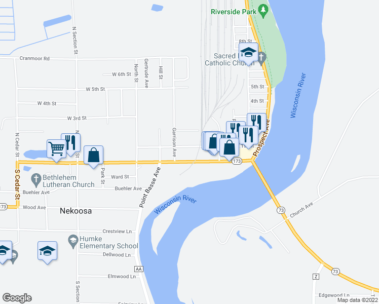 map of restaurants, bars, coffee shops, grocery stores, and more near 603 1st Street in Nekoosa