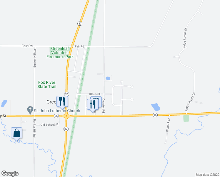 map of restaurants, bars, coffee shops, grocery stores, and more near 6742 Cascade Drive in Greenleaf