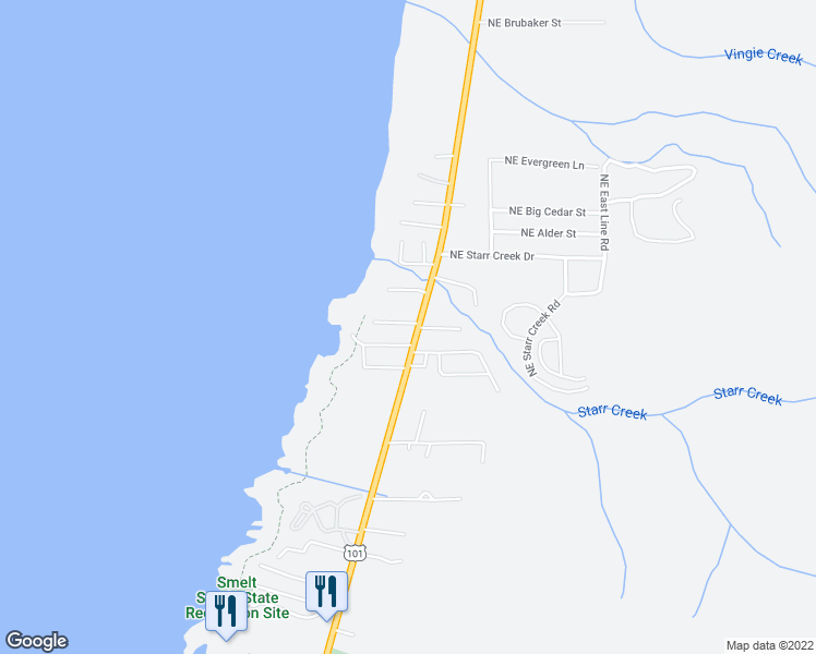map of restaurants, bars, coffee shops, grocery stores, and more near 54 Northwest Salmon Street in Yachats