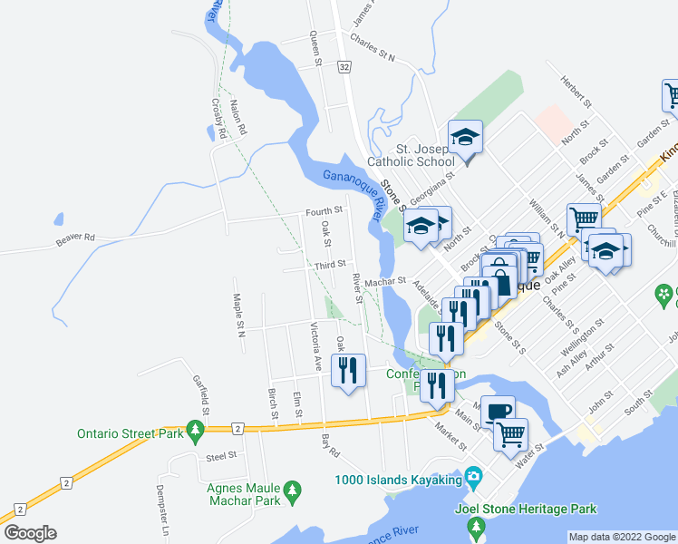map of restaurants, bars, coffee shops, grocery stores, and more near 295 Oak Street in Gananoque