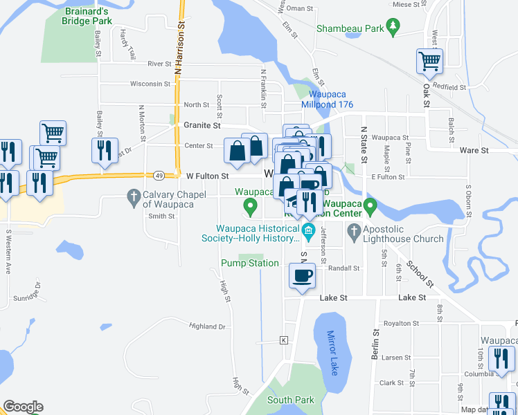 map of restaurants, bars, coffee shops, grocery stores, and more near 210 South Franklin Street in Waupaca