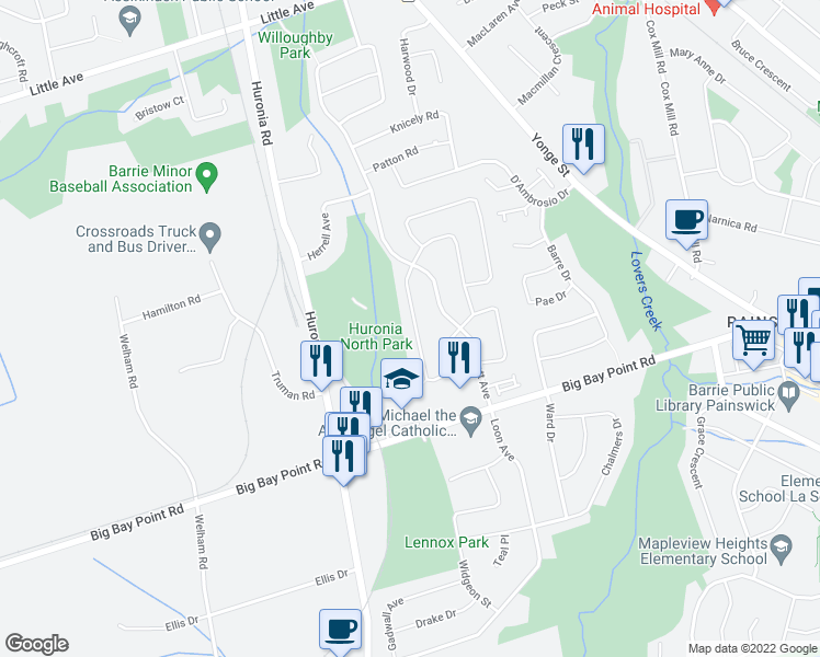 map of restaurants, bars, coffee shops, grocery stores, and more near 62 Pickett Crescent in Barrie