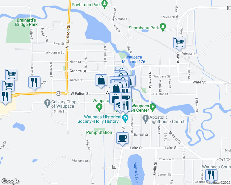 map of restaurants, bars, coffee shops, grocery stores, and more near 721 West Fulton Street in Waupaca