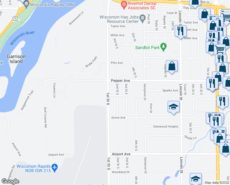 map of restaurants, bars, coffee shops, grocery stores, and more near 2530 2nd Street South in Wisconsin Rapids