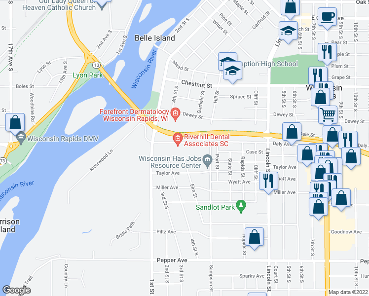 map of restaurants, bars, coffee shops, grocery stores, and more near 410 Daly Avenue in Wisconsin Rapids