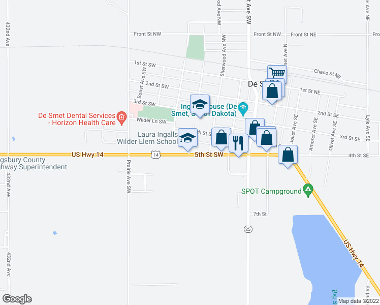 map of restaurants, bars, coffee shops, grocery stores, and more near 405 Ingalls Avenue Southwest in De Smet