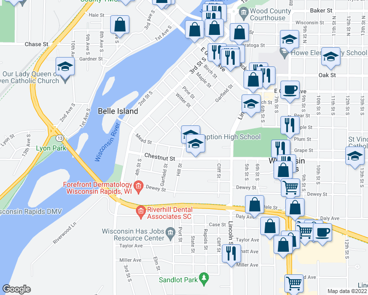 map of restaurants, bars, coffee shops, grocery stores, and more near 621 Hill Street in Wisconsin Rapids