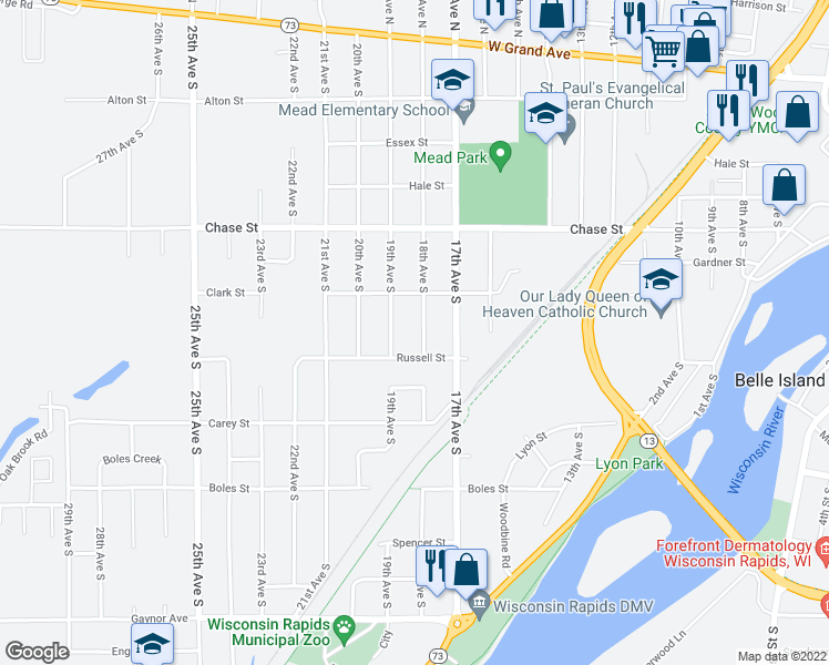 map of restaurants, bars, coffee shops, grocery stores, and more near 750 18th Avenue South in Wisconsin Rapids