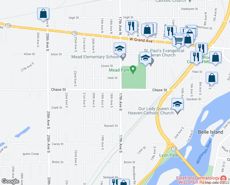 map of restaurants, bars, coffee shops, grocery stores, and more near 1731 Chase Street in Wisconsin Rapids
