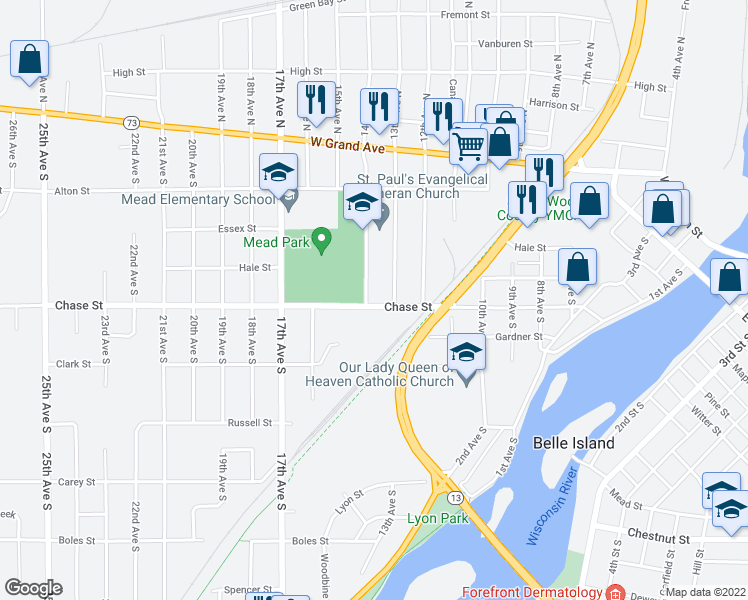 map of restaurants, bars, coffee shops, grocery stores, and more near 1340 Chase Street in Wisconsin Rapids