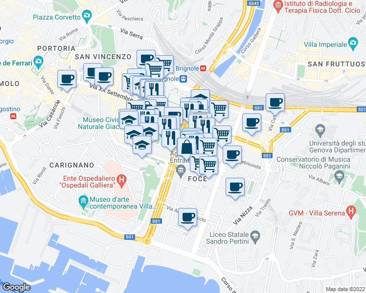 map of restaurants, bars, coffee shops, grocery stores, and more near 50r Viale Brigata Bisagno in Genova