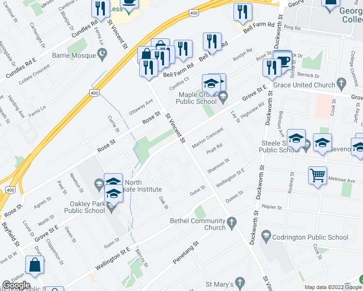 map of restaurants, bars, coffee shops, grocery stores, and more near 260 Saint Vincent Street in Barrie
