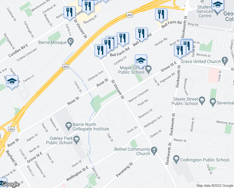 map of restaurants, bars, coffee shops, grocery stores, and more near 278 Saint Vincent Street in Barrie