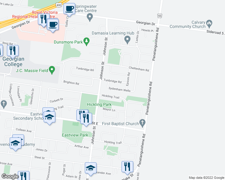 map of restaurants, bars, coffee shops, grocery stores, and more near 16 Sydenham Wells in Barrie