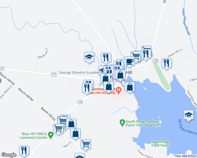 map of restaurants, bars, coffee shops, grocery stores, and more near 20 High Street in Blue Hill