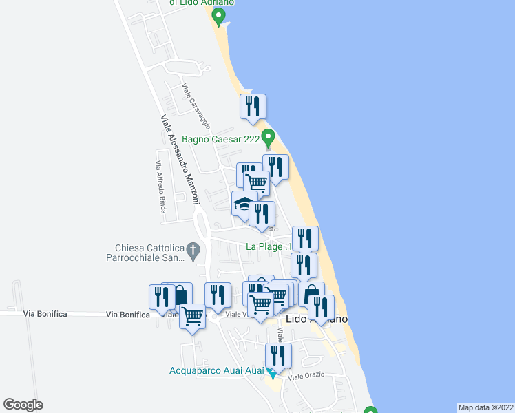 map of restaurants, bars, coffee shops, grocery stores, and more near Viale Vittorio Alfieri in Lido Adriano