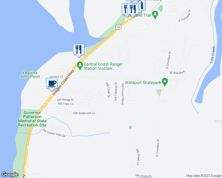 map of restaurants, bars, coffee shops, grocery stores, and more near 1345 Southwest Chad Drive in Waldport