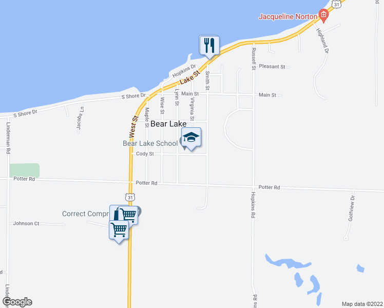 map of restaurants, bars, coffee shops, grocery stores, and more near 7701-7717 Cody Street in Bear Lake