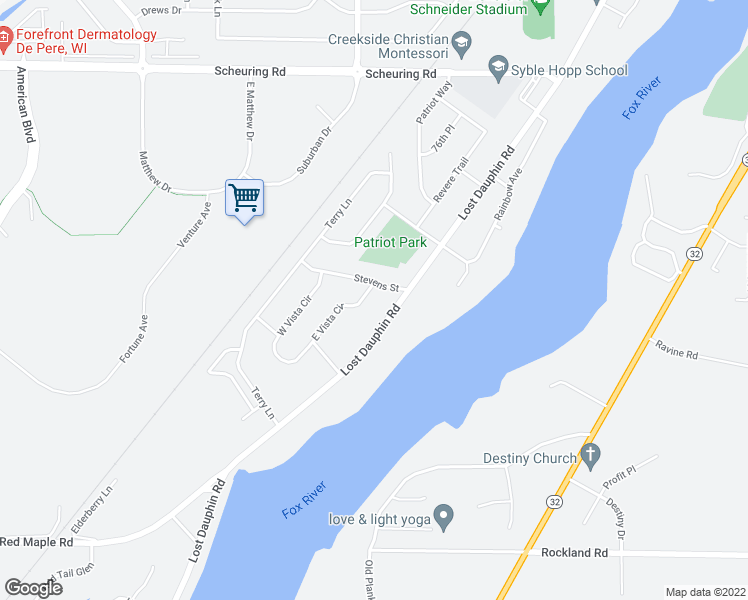 map of restaurants, bars, coffee shops, grocery stores, and more near De Pere Road in Denmark