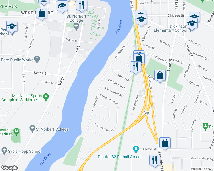 map of restaurants, bars, coffee shops, grocery stores, and more near in De Pere