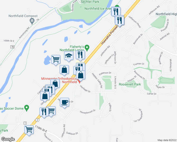map of restaurants, bars, coffee shops, grocery stores, and more near 2000 Jefferson Road in Northfield