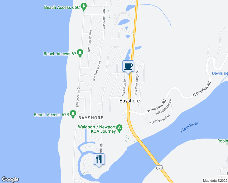 map of restaurants, bars, coffee shops, grocery stores, and more near 1809 Northwest Oceanview Drive in Waldport
