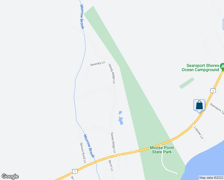 map of restaurants, bars, coffee shops, grocery stores, and more near Sandy Ridge Lane in Searsport