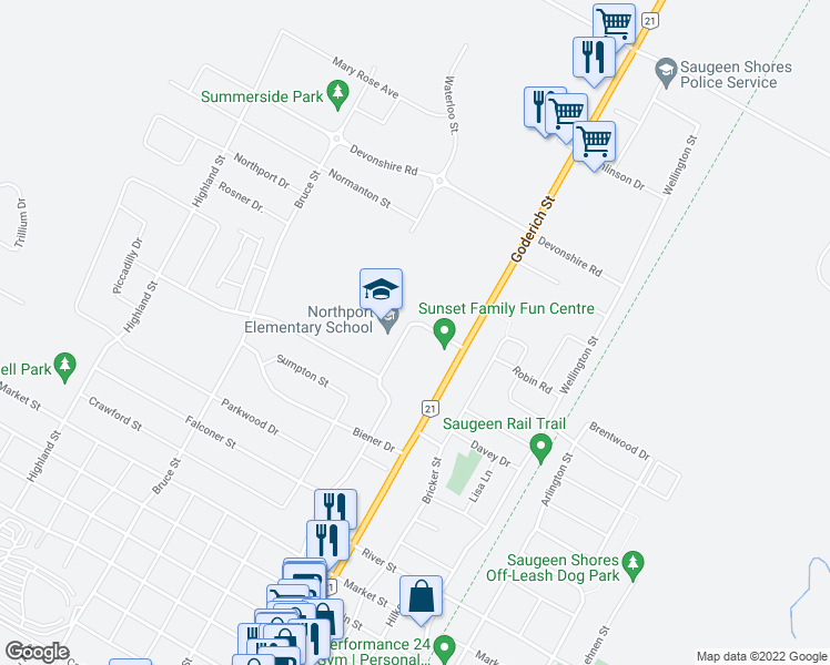 map of restaurants, bars, coffee shops, grocery stores, and more near 1000 Waterloo Street in Saugeen Shores