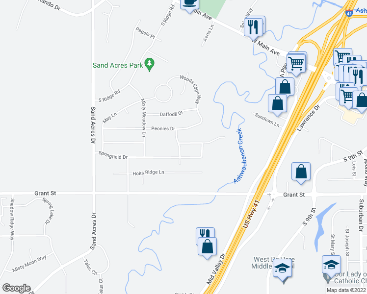 map of restaurants, bars, coffee shops, grocery stores, and more near 977 Green Ridge Road in De Pere