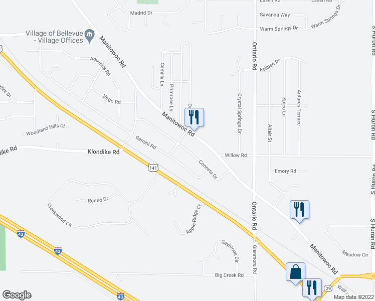map of restaurants, bars, coffee shops, grocery stores, and more near Conesta Drive in Bellevue