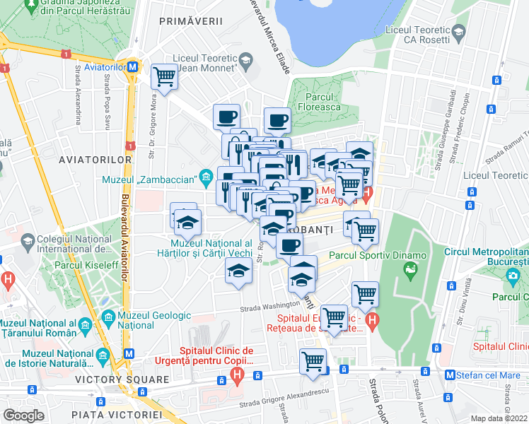 map of restaurants, bars, coffee shops, grocery stores, and more near 171 Calea Dorobanți in București