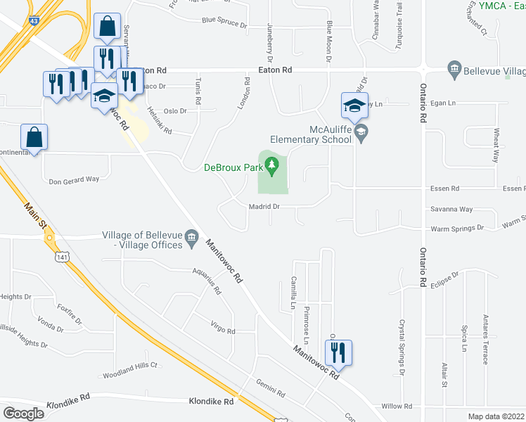 map of restaurants, bars, coffee shops, grocery stores, and more near 2910 Madrid Drive in Green Bay
