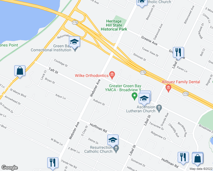 map of restaurants, bars, coffee shops, grocery stores, and more near 111 Hickory Circle in Green Bay
