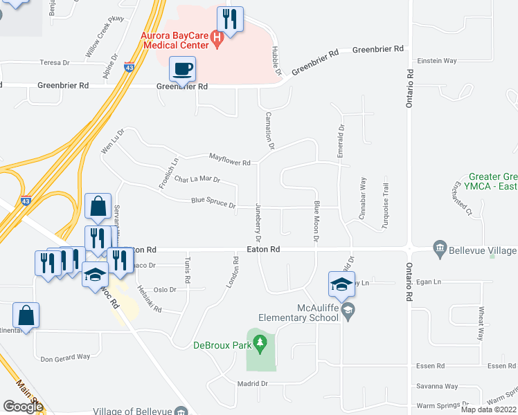 map of restaurants, bars, coffee shops, grocery stores, and more near Juneberry Drive in Bellevue