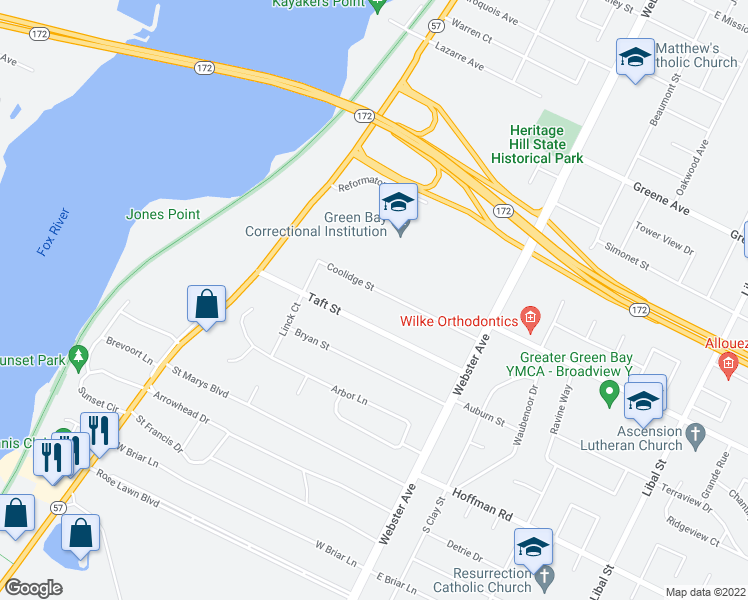 map of restaurants, bars, coffee shops, grocery stores, and more near 301 Coolidge Street in Green Bay
