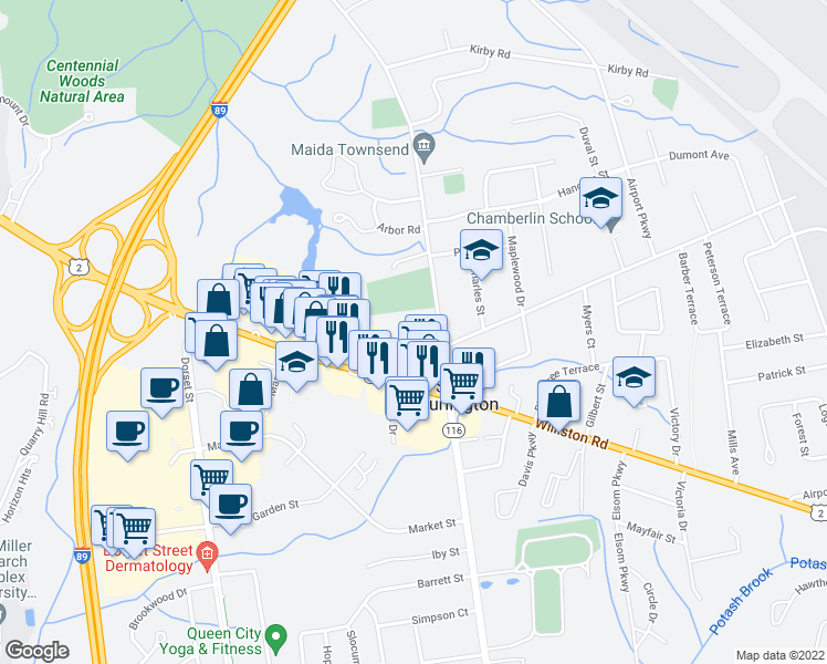 map of restaurants, bars, coffee shops, grocery stores, and more near Executive Drive in South Burlington