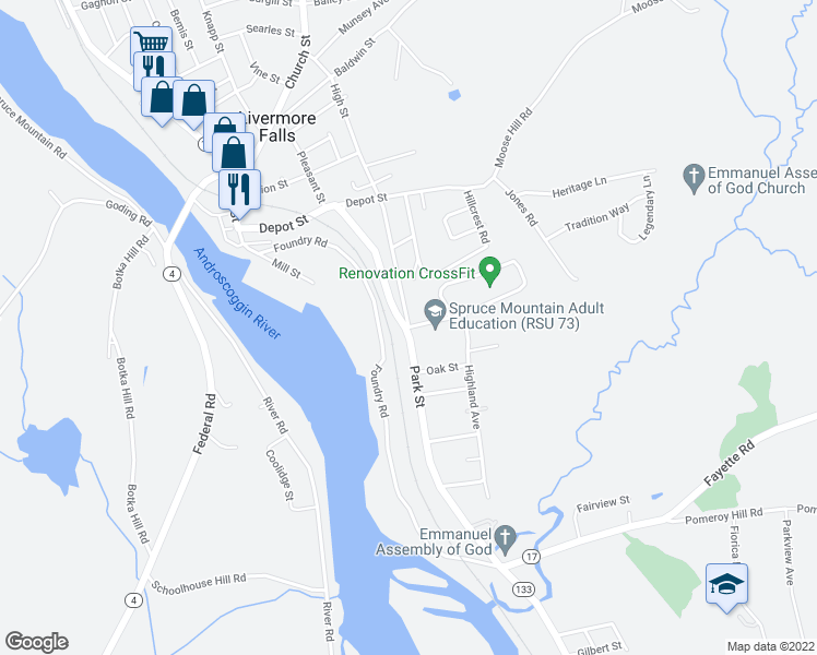 map of restaurants, bars, coffee shops, grocery stores, and more near Foundry Road in Livermore Falls